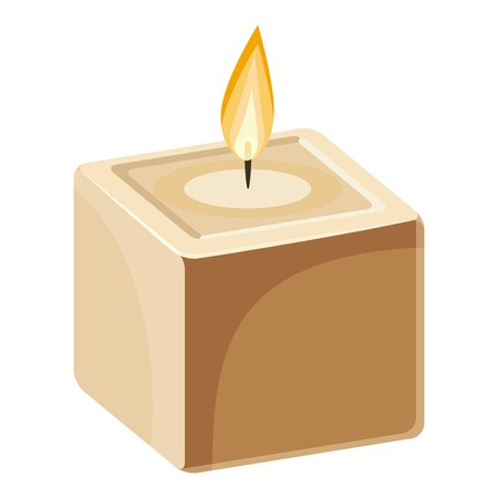 Cube-shape candle icon. Cartoon illustration of candle vector icon for web design Illustration