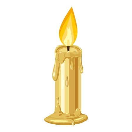 holiday: Burning candle icon. Cartoon illustration of candle vector icon for web design Illustration