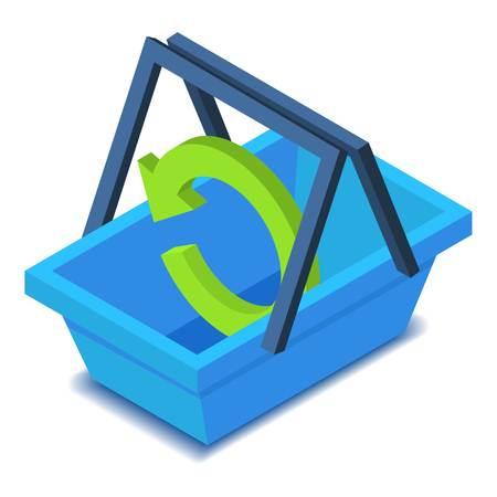 retail equipment: Shopping basket icon. Isometric illustration of shopping basket vector icon for web design