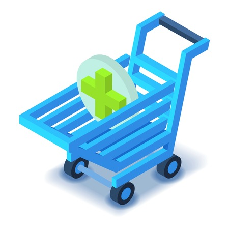 retail equipment: Shopping cart with green cross icon. Isometric illustration of shopping cart vector icon for web design