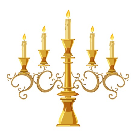Chandelier with five candles icon. Cartoon illustration of candle vector icon for web design