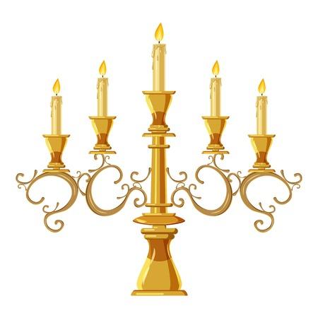 Leuchter mit Ikone mit fünf Kerzen. Karikaturillustration der Kerzenvektorikone für Webdesign