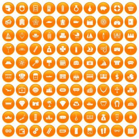 100 wealth icons set orange