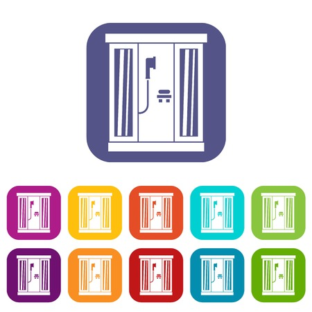 Shower cabin icons set