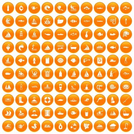 100 water icons set orange Ilustração