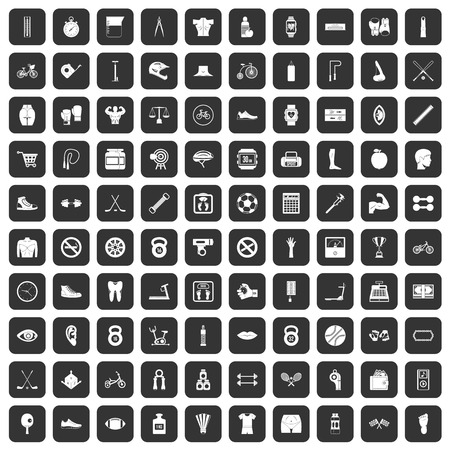 hand with dumbbell: 100 kettlebell icons set black