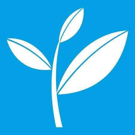 Tea leaf sprout icon white