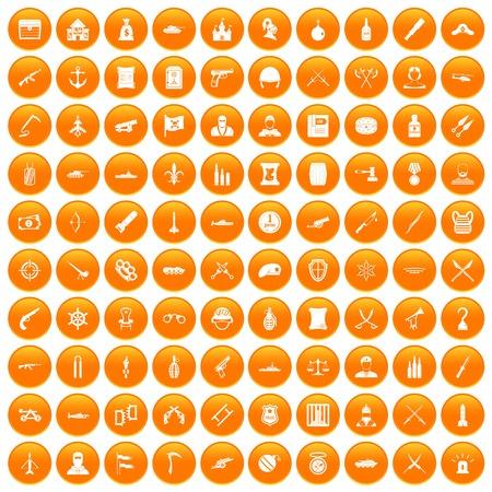 100 weapons icons set orange