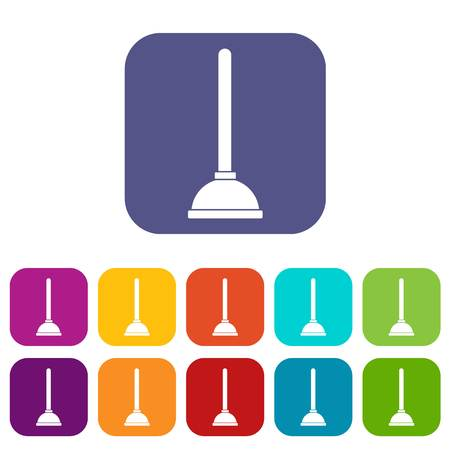 Toilet plunger icons set