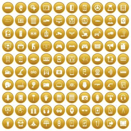 100 adjustment icons set gold