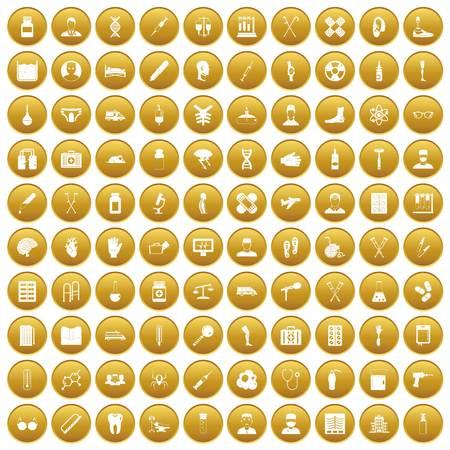 100 ambulance icons set gold