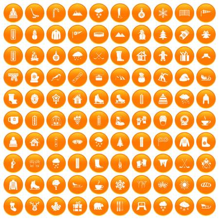 100 winter icons set orange