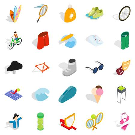 Recreation park icons set, isometric style Illustration
