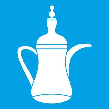 middle eastern food: Oriental teapot icon white Illustration