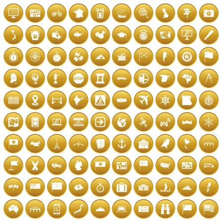 100 cartography icons set gold