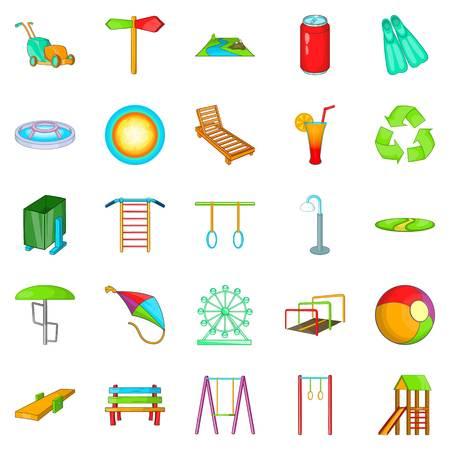 Amusement icons set, cartoon style