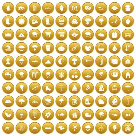 100 clouds icons set gold