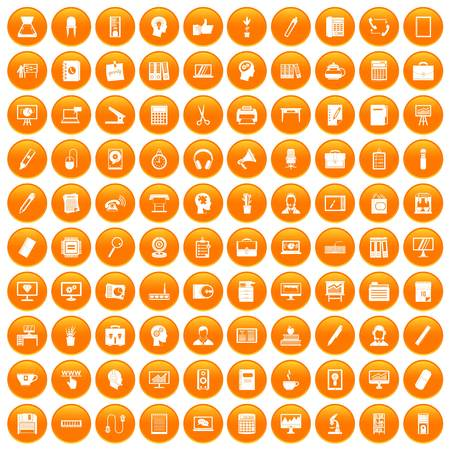 100 work space icons set orange Illustration