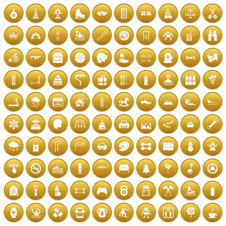 100 children activities icons set gold