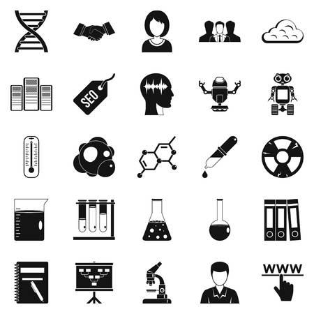 dashboard: SEO analytics icons set, simple style Illustration