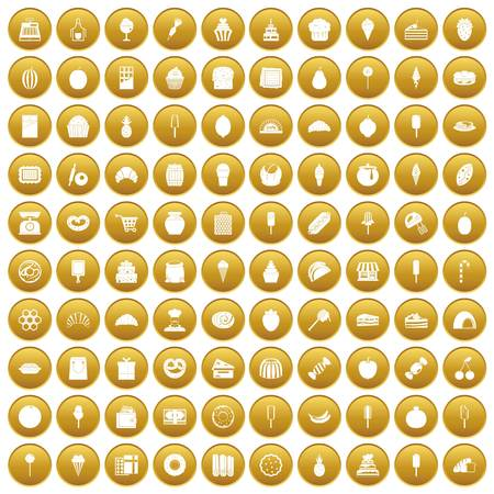 100 confectionery icons set gold