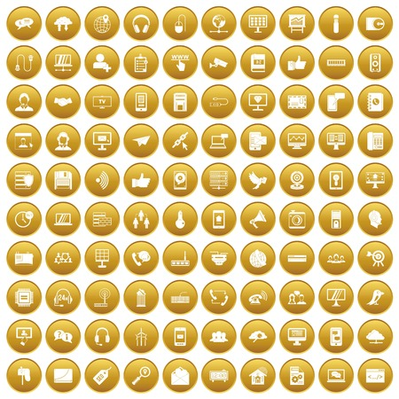 100 communication icons set gold