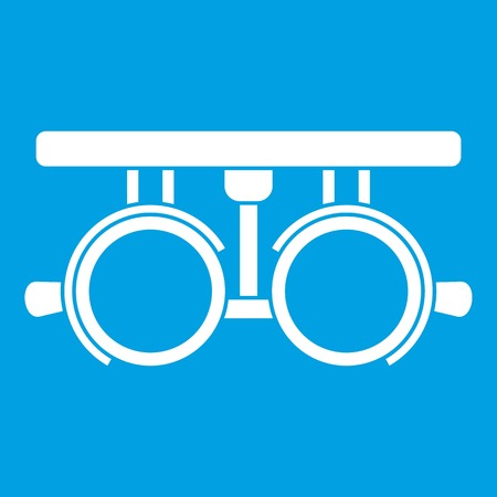 optician: Trial frame for checking patient vision icon white, isolated on blue Illustration