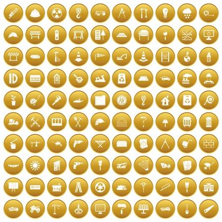 100 construction site icons set gold