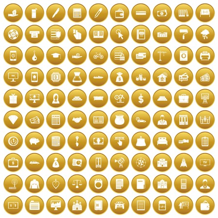 100 credit icons set in gold backgrounds.
