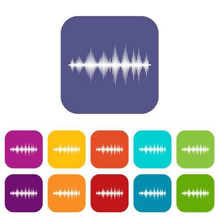 Audio digital equalizer technology icons set