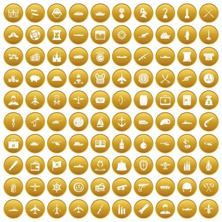 100 combat vehicles icons set gold Ilustrace