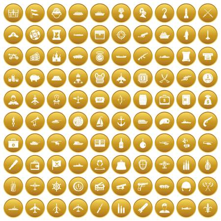 100 combat vehicles icons set gold Illustration