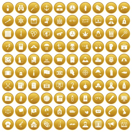 100 crime investigation icons set gold