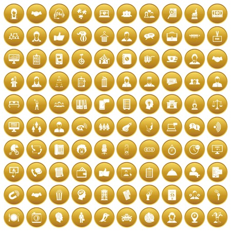 100 coherence icons set gold Illustration