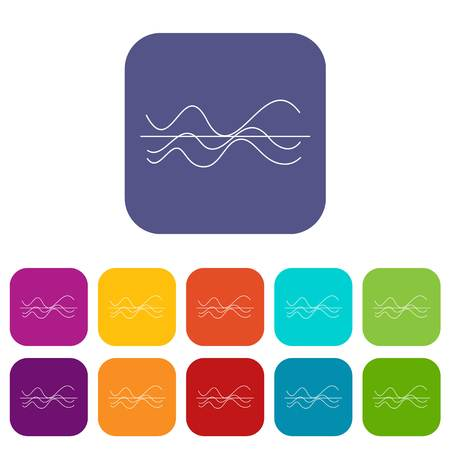 Sound waves icons set in different color background