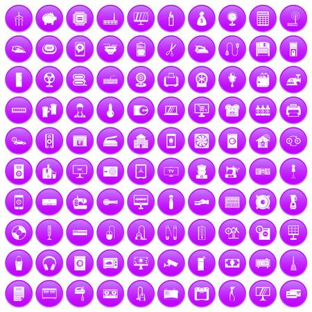 100 appliances icons set purple Illustration