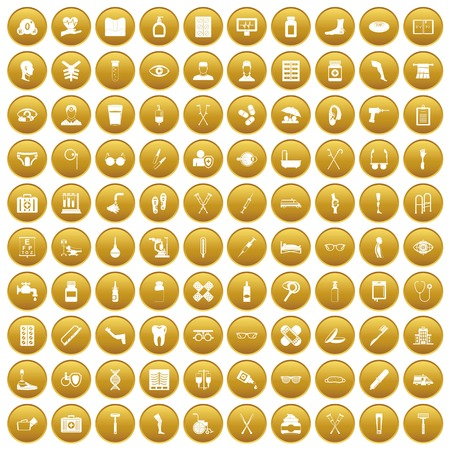 100 disabled healthcare icons set gold