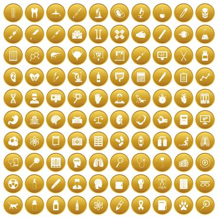 heart monitor: 100 diagnostic icons set gold Illustration