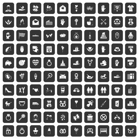 100 love icons set black