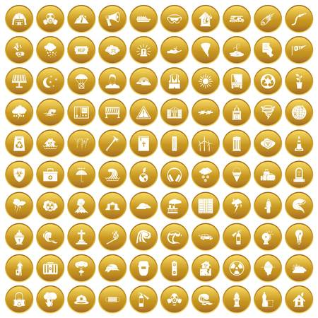 100 disaster icons set gold