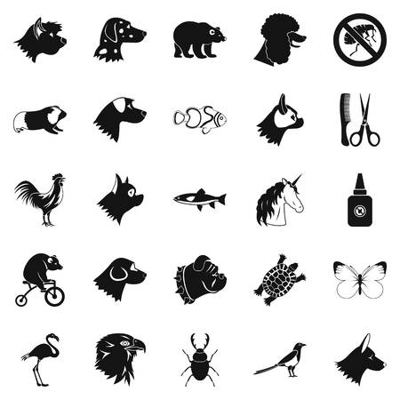 Dogs icons set, simple style