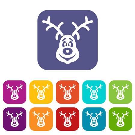 white tail deer: Christmas deer icons set