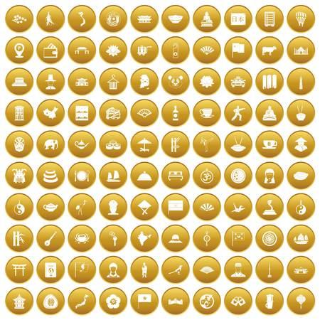 100 dish icons set gold