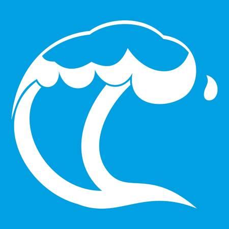 Ocean or sea wave icon white Illustration