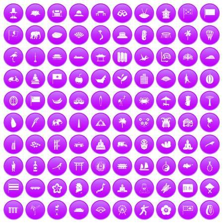 100 asian icons set purple