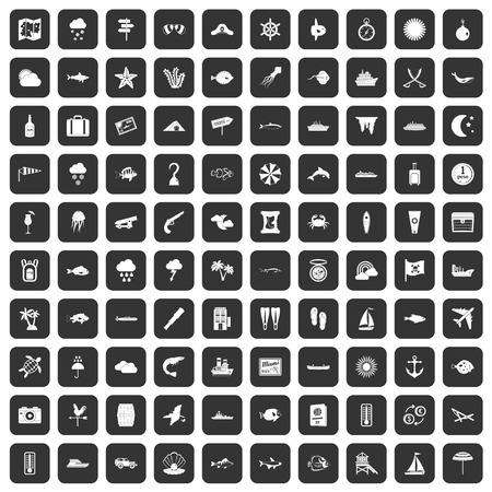 100 marine environment icons set black Illustration