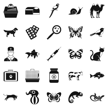 Vet clinic icons set, simple style