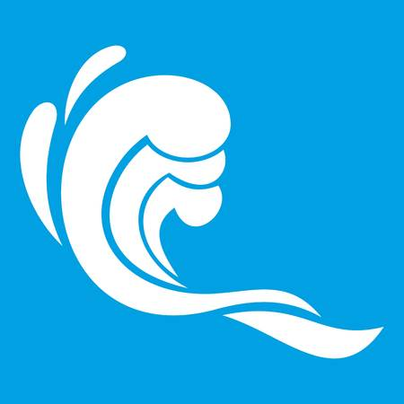 Water wave icon white