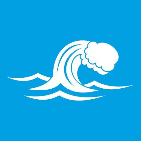 Foamy wave icon white