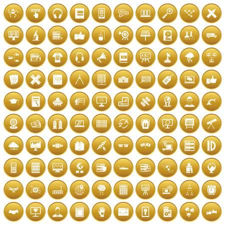 100 education technology icons set gold
